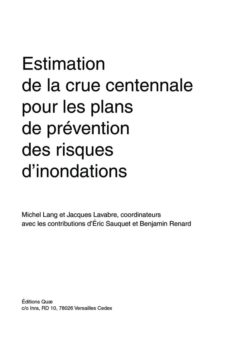 estimation de la crue centennale pour les plans de prevention des risques dinondations